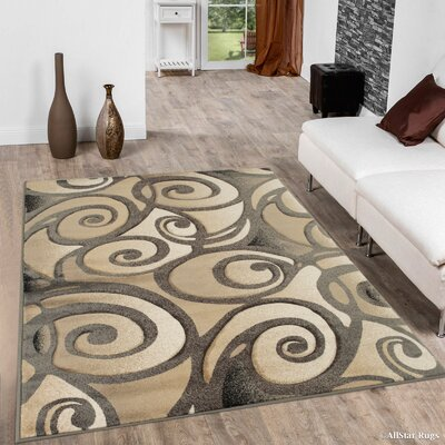 Evolution Swirl Brown Area Rug Rug Size: Rectangle 52 x 72