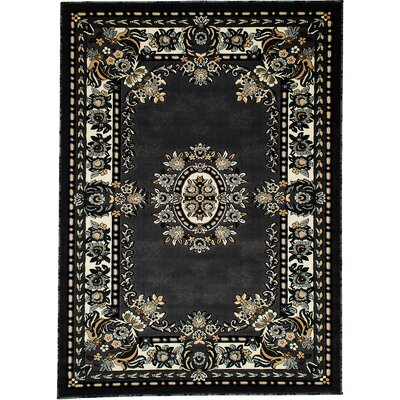 Andrews Rectangle Vintage Floral Bordered Gray Area Rug Rug Size: 710 x 102