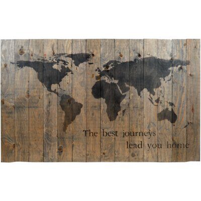 'World Map' Graphic Art on Plaque