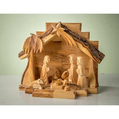 Olive Wood Grotto with Carved Figures E-22