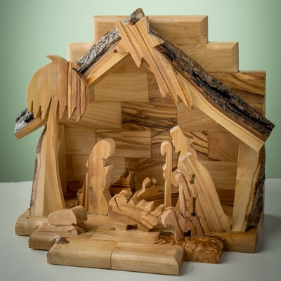 Olive Wood Nativity Set with Silhouette Figures E-22b