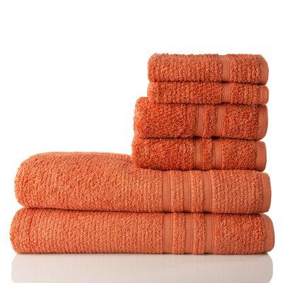 Zero Twist Cotton 6 Piece Towel Set Color: Rust