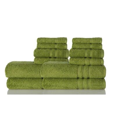 Zero Twist Cotton 12 Piece Towel Set Color: Moss