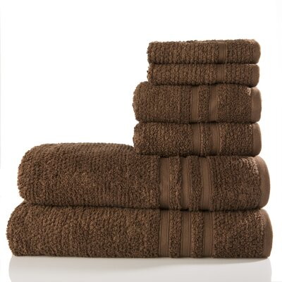Zero Twist Cotton 6 Piece Towel Set Color: Chocolate