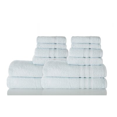 Zero Twist Cotton 12 Piece Towel Set Color: Ocean Blue
