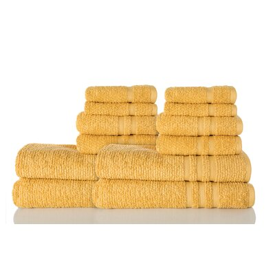 Zero Twist Cotton 12 Piece Towel Set Color: Honeycomb