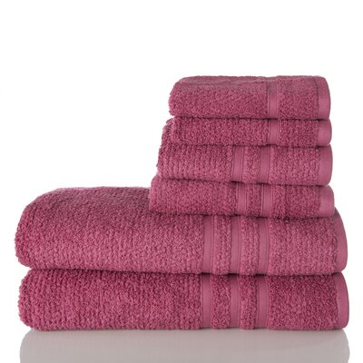 Zero Twist Cotton 6 Piece Towel Set Color: Mauve
