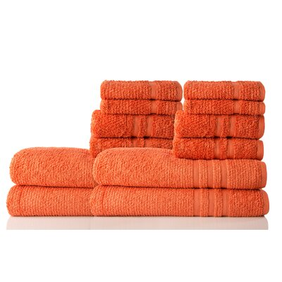 Zero Twist Cotton 12 Piece Towel Set Color: Rust