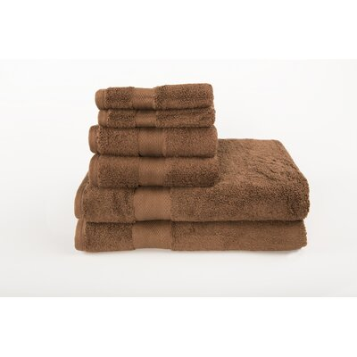 Cloud Zero 6 Piece Towel Set Color: Chocolate Mousse