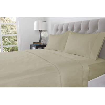 410 Thread Count 100% Cotton Flat Sheet Size: Twin, Color: Mushroom