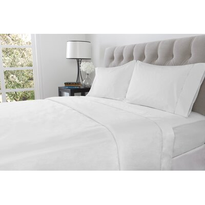 410 Thread Count 100% Cotton Flat Sheet Size: Twin, Color: White