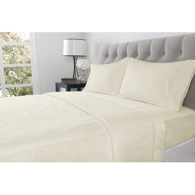 410 Thread Count 100% Cotton Flat Sheet Size: Twin, Color: Ivory