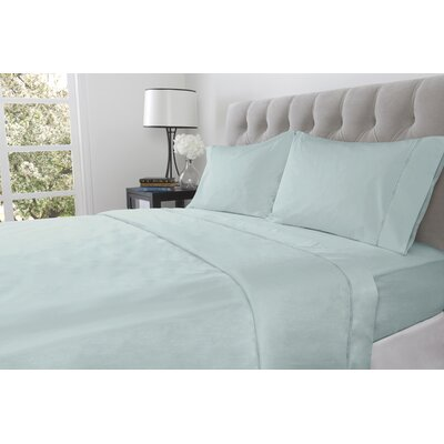 410 Thread Count 100% Cotton Flat Sheet Size: King, Color: Blue