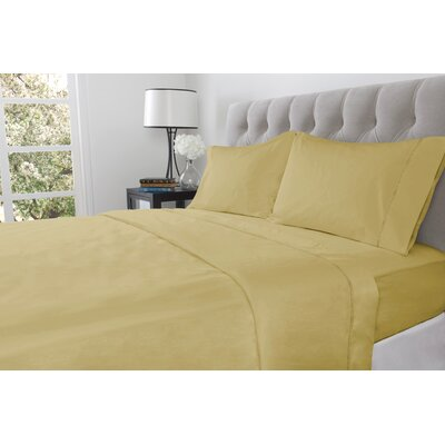 410 Thread Count 100% Cotton Flat Sheet Color: Almond, Size: Queen