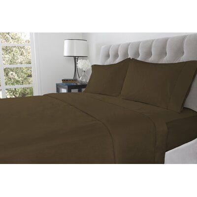 410 Thread Count 100% Cotton Flat Sheet Color: Chestnut, Size: King