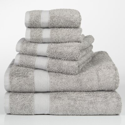 Label Cotton 6 Piece Towel Set Color: Grey
