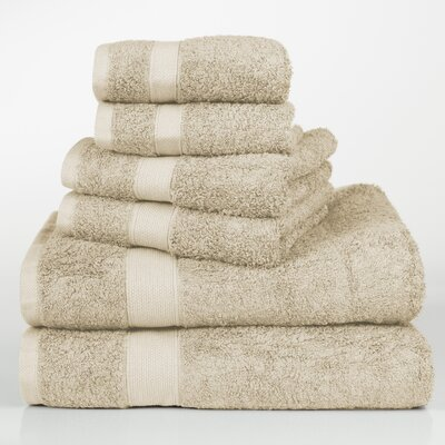 Label Cotton 6 Piece Towel Set Color: Light Tan