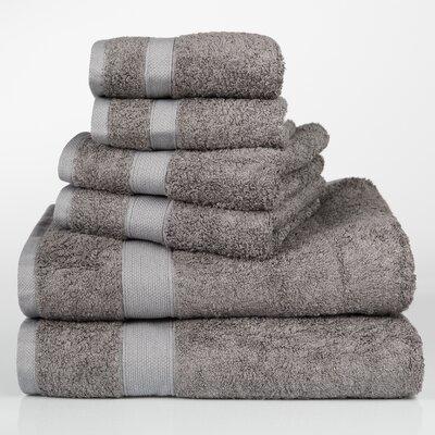 Label Cotton 6 Piece Towel Set Color: Chocolate