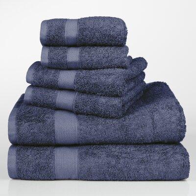 Label Cotton 6 Piece Towel Set Color: Blue Indigo