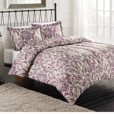 Emily Printed 3 Piece Comforter Set Size: Queen