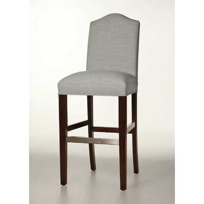 Mackenzie 30 Bar Stool Base Finish: Brown Cherry, Upholstery: Pewter