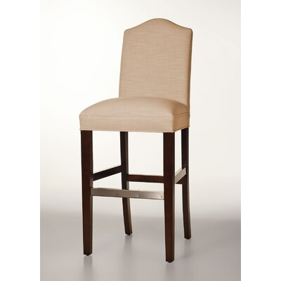 Mackenzie 30 Bar Stool Base Finish: Brown Cherry, Upholstery: Tan