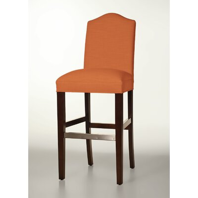 Mackenzie 30 Bar Stool Base Finish: Dark Walnut, Upholstery: Orange