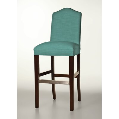 Mackenzie 30 Bar Stool Base Finish: Dark Walnut, Upholstery: Turquoise