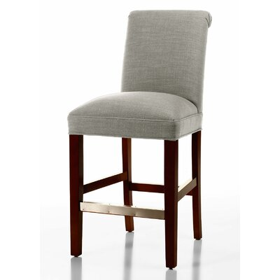 Donald 26 Bar Stool Leg Color: Brown Cherry, Upholstery Color: Cream