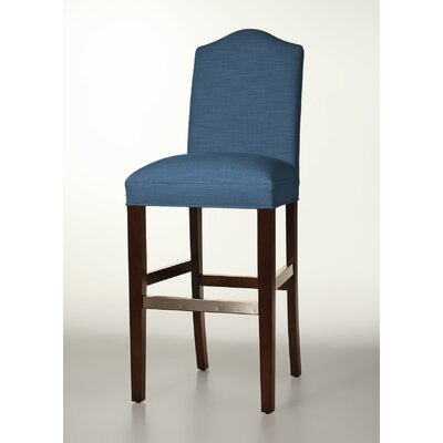 Mackenzie 30 Bar Stool Base Finish: Dark Walnut, Upholstery: Sapphire
