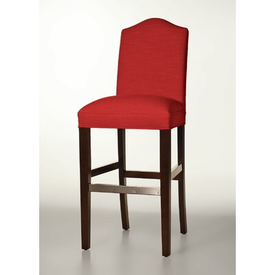 Mackenzie 30 Bar Stool Base Finish: Brown Cherry, Upholstery: Red