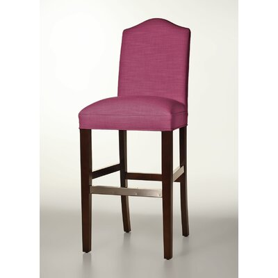 Mackenzie 30 Bar Stool Base Finish: Dark Walnut, Upholstery: Fuchsia