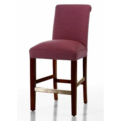 Pilar 26 Bar Stool Base Finish: Matte Black, Upholstery: Fuchsia