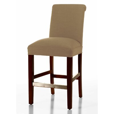 Pilar 26 inch Bar Stool Upholstery: Tan, Base Finish: Dark Walnut
