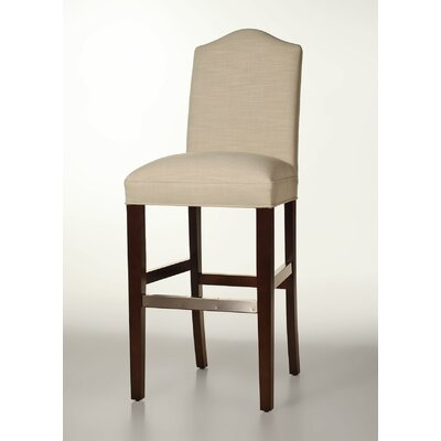 Mackenzie 30 Bar Stool Base Finish: Dark Walnut, Upholstery: Cream