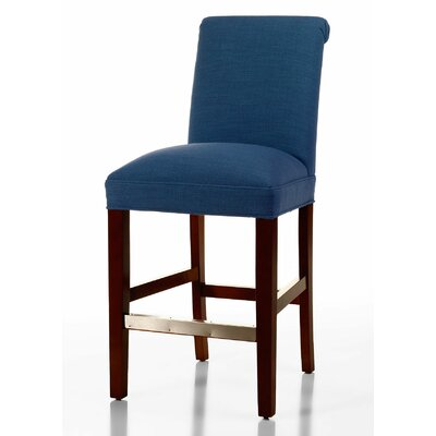 Pilar 26 inch Bar Stool Upholstery: Sapphire, Base Finish: Dark Walnut
