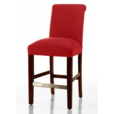 Donald 26 Bar Stool Leg Color: Brown Cherry, Upholstery Color: Red