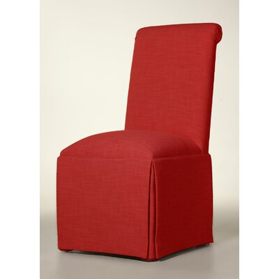 Arvidson Solid Back Skirted Upholstered Dining Chair Upholstery: Red