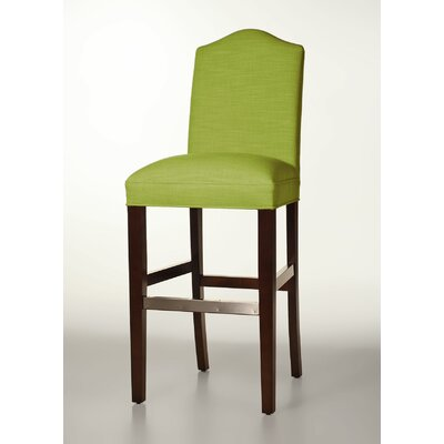 Mackenzie 30 Bar Stool Base Finish: Dark Walnut, Upholstery: Lime