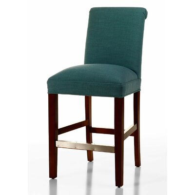 Pilar 26 inch Bar Stool Upholstery: Turquoise, Base Finish: Brown Cherry