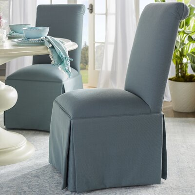 Weare Solid Back Skirted Upholstered Dining Chair Upholstery: Cloud