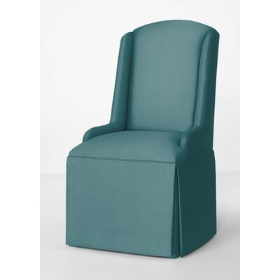 Doric Petite Wing Back Skirted Arm Chair Upholstery: Turquoise
