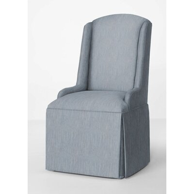 Doric Petite Wing Back Skirted Arm Chair Upholstery: Denim