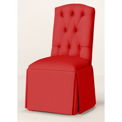 Pearce Diamond Tufted Skirted Parsons Chair Upholstery: Red