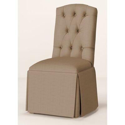 Pearce Diamond Tufted Skirted Parsons Chair Upholstery: Tan
