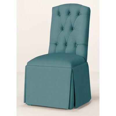 Pearce Diamond Tufted Skirted Parsons Chair Upholstery: Turquoise