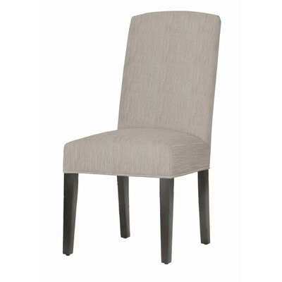 Asbury Upholstered Dining Chair Leg Color: Matte Black, Upholstery Color: Stone