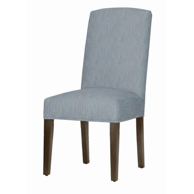 Asbury Upholstered Dining Chair Leg Color: Dark Walnut, Upholstery Color: Denim