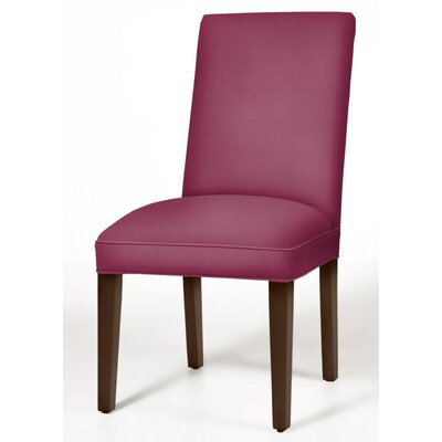 Pearl Parsons Chair Upholstery: Fuchsia, Finish: Brown Cherry