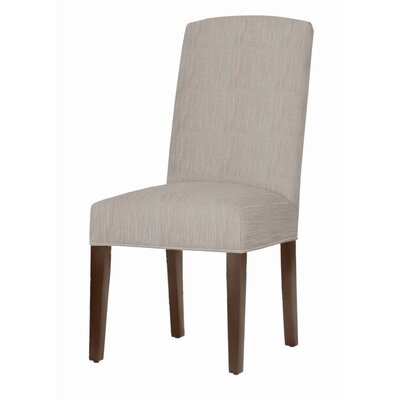 Asbury Upholstered Dining Chair Leg Color: Brown Cherry, Upholstery Color: Stone